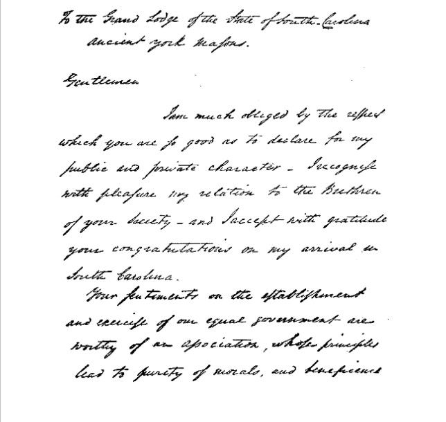 2015-01-03_151650 Washington's Reply to Address from Grand Lodge of South Carolina, May, 1791 pt1