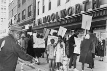 Picketing in 1960 in front of a Woolworth's in Vineland, in solidarity with protesters in the South.