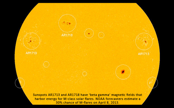image of active sunspots AR1713 and AR1718