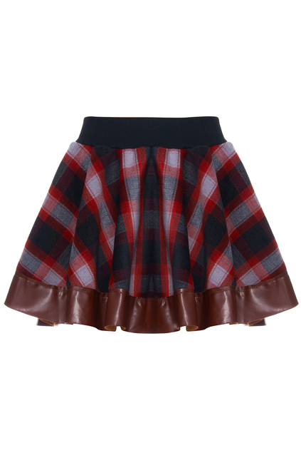 Romwe Plaid Skirt with Leather Trim