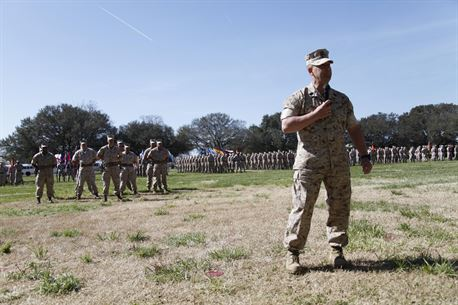U.S. Marine Sgt. Maj. Darby Noonan addresses Marine Sailors and guests after receiving the duties of Regimental Sgt. Maj. of the Marine Corps Security Force Regiment aboard Naval Station Norfolk, Va., April 2, 2015. Noonan is incoming from the position of Sgt. Maj. of 2nd Marine Special Operations Support Battalion. (U.S. Marine Corps photo by Sgt. Esdras Ruano/Released)