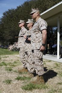 U.S. Marine Sgt. Maj. William Frye relinquishes his duties as the Regimental Sgt. Maj. to Sgt. Maj. Darby Noonan during a post and relief ceremony aboard Naval Station Norfolk, Va., April 2, 2015. Noonan is incoming from the position of Sgt. Maj. of 2nd Marine Special Operations Support Battalion. (U.S. Marine Corps photo by Sgt. Esdras Ruano/Released)