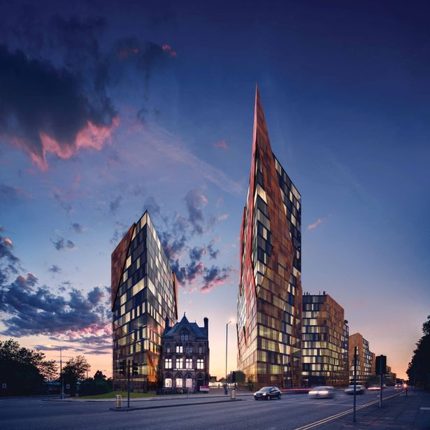Images representing plans for New Chinatown, a retail and residential project planned for Liverpool city ecntre's Tribeca fields. Images courtesy of Infinte 3D Ltd