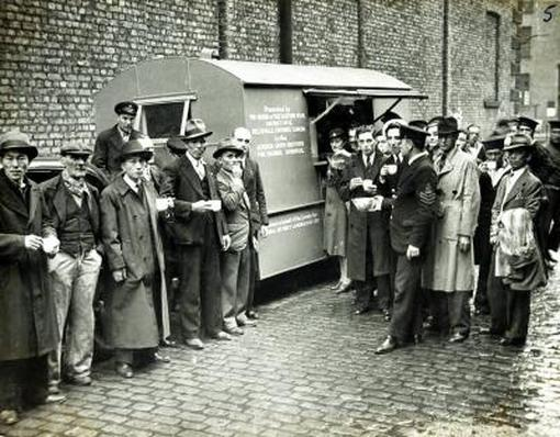 Chinese seamen enjoying refreshments at a Gordon Smith Institute mobile canteen - Photo Courtesy of Liverpool Records Office