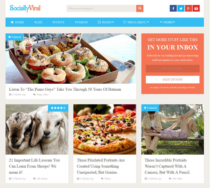 SociallyViral personal wordpress blog theme