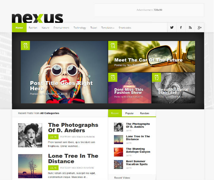 nexus wordpress personal blog theme