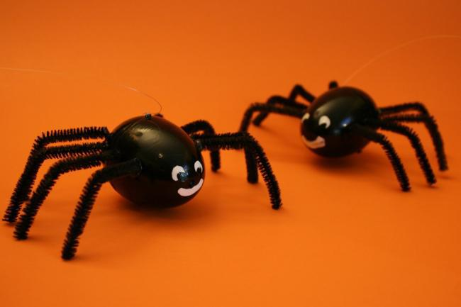 Halloween Spiders from Easter Eggs Craft Ideas for Kids
