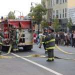 Firefighters respond to a three-alarm fire near 16th and Valencia Sts. in San Francisco's Mission District.  (Photo courtesy Kate Paloy)
