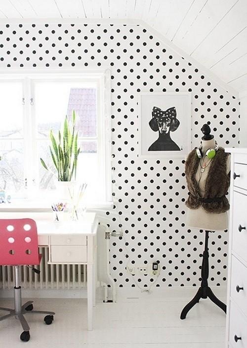 Polka dot home office