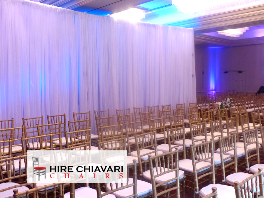 gold chiavari chairs wedding ceremony