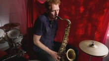 Neill Duncan playing his specially made saxophone