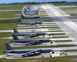 US B-52s and other aircraft at Andersen Air Force Base in Guam