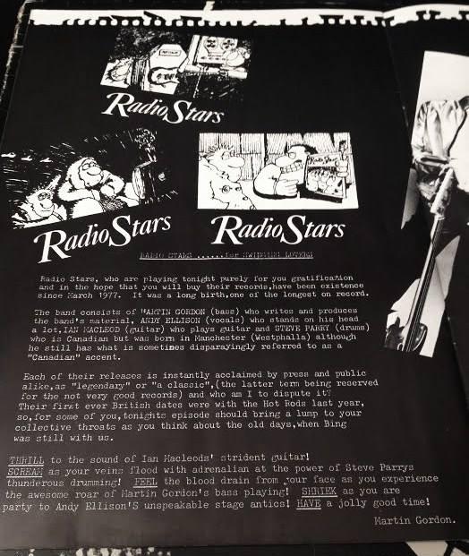 Hots Rods/Radio Stars tour 1978 programme