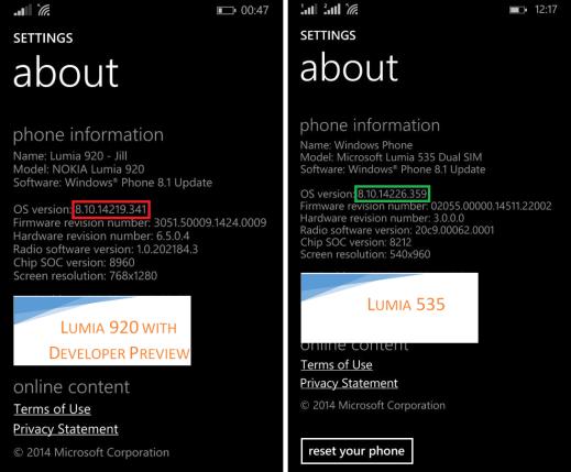 Latest Windows Phone 8.1 version