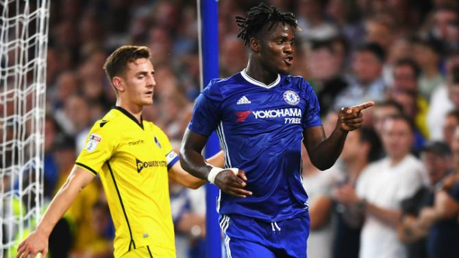during the EFL Cup second round match between Chelsea and Bristol Rovers at Stamford Bridge on August 23, 2016 in London, England.