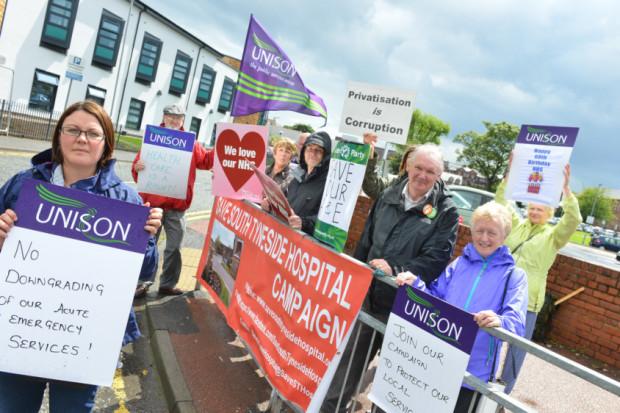 South Tyneside District Hospital vigil. Front Unison Gemma Taylor