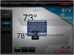The newer, internet-enabled thermometers give customers the ability to adjust the temperature of their home from a smart phone app, and as this picture indicates, allows them to receive notifications for D/R events on their mobile devices.