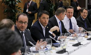 David Cameron during a meeting with European Union leaders to discuss the United Kingdom's future within the union.