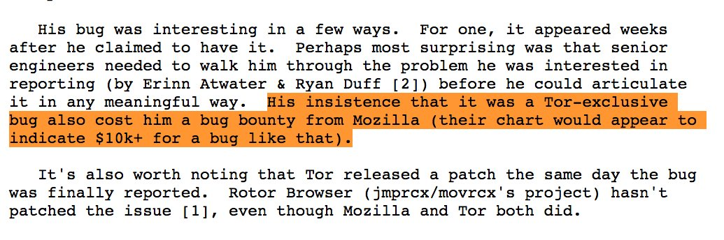 Bug bounty, patching Rotor Browser, source:https://web.archive.org/web/20161003184442/https:/twitter.com/AlecMuffett/status/779230640952737792