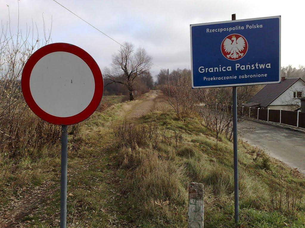 Polish-Belarussian state border  on Bug river in city Wlodawa