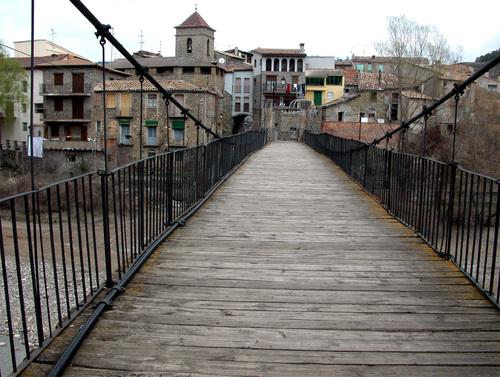 PUENTE DE MONTAÑANA (Provincia de Huesca). Comarca de La Ribagorza. Puente sobre el río Noguera Ribagorzana (1885).
