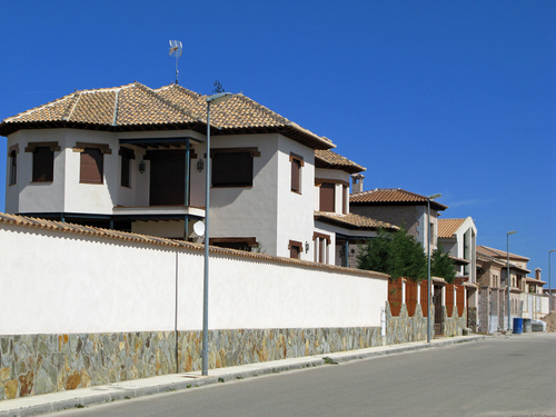 Guadamur, Spain. New houses close to the castle