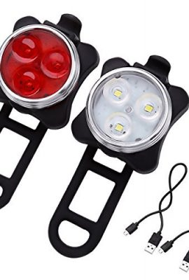 LE-Rechargeable-LED-Bike-Light-Set-Cycling-Headlight-and-Taillight-2-USB-Cables-Included-4-Light-Modes-140lm-Water-Resistant-Front-and-Rear-Bicycle-Light-Set-Bike-Lights-0