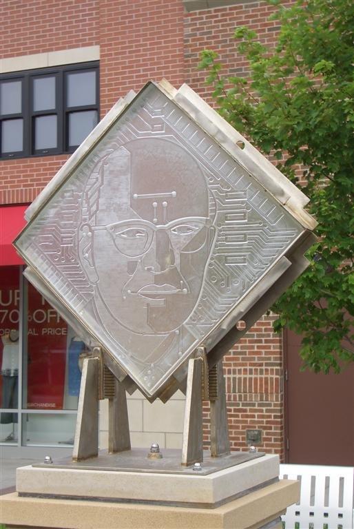sculpture honoring Jack St. Clair Kilby, electrical engineer & inventor, Legends Shopping Center, Kansas City, KS