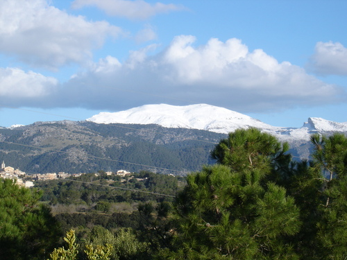 Schnee auf Mallorca (Buger mit Blick auf Piug Major)