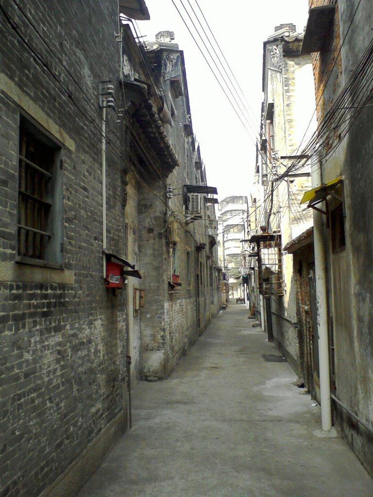 广东江门阜元里街景(the street view of the crowd of ancient folk houses  in Jiangmen,Guangdong)