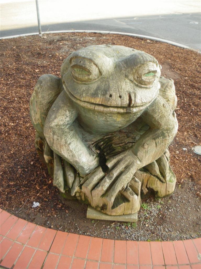 Wooden Frog Statue