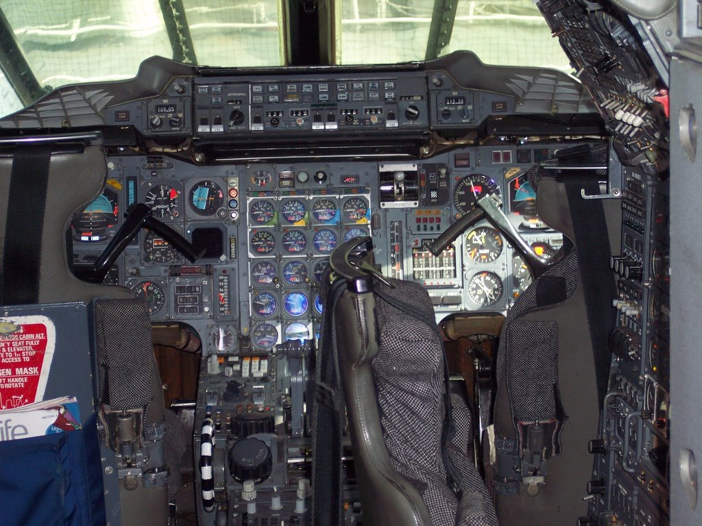 Captain's Bridge Inside A Aircraft Carrier ,  Intrepid Sea-Air-Space Museum , Manhattan New York.
