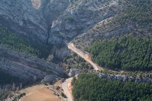 Vista aérea de la entrada norte al Desfiladero de la Yecla