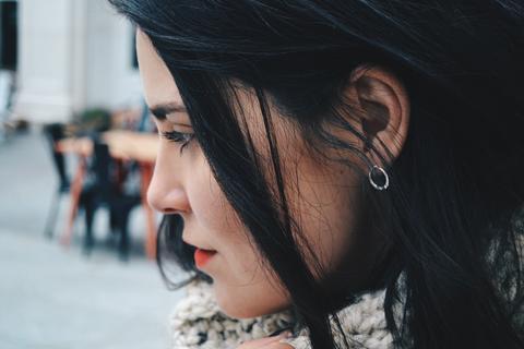 open circle earring in sterling silver