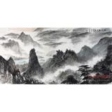 中国美术家协会湖南分会会员唐圣熙水墨山水画《烟雨初晴》