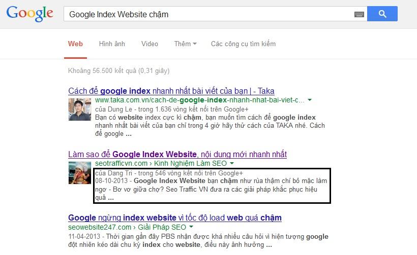 Google Author Rank tác động đến thứ hạng tìm kiếm đáng kể