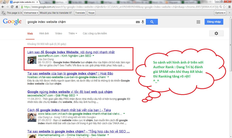Google Author Rank tác động đến Rank Google tích cực