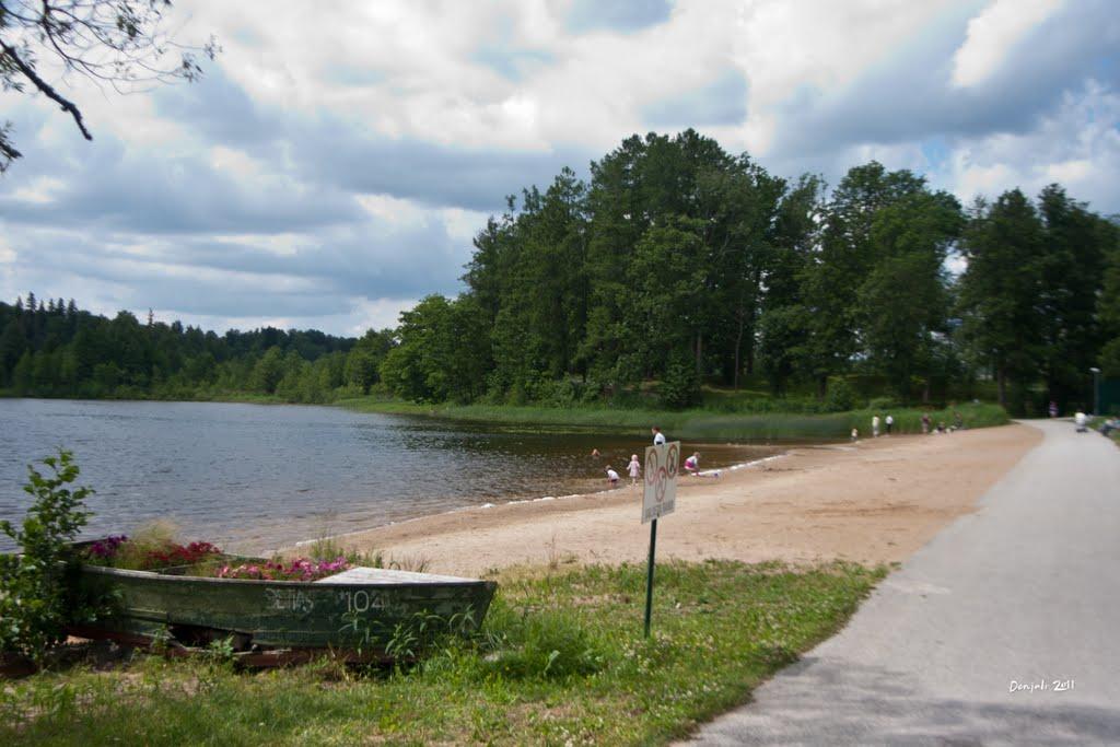 Пляж на озере Puhajarve