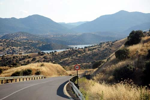 View of valley into Embalse de Montoro I. Travels on road A-6176 in the Sierra Quintana (road is found south of Puertollano)