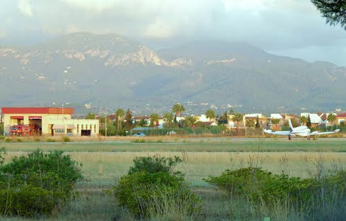 Son Bonet Airport in Mallorca with View on Tramuntana Mountains