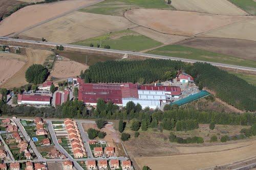 Vista aérea de las instalaciones de Soria Natural en Garray