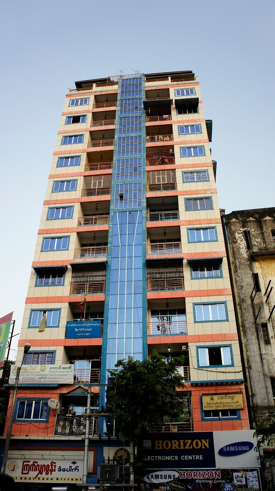 Colourful high rise on Pansodan Street, Rangoon