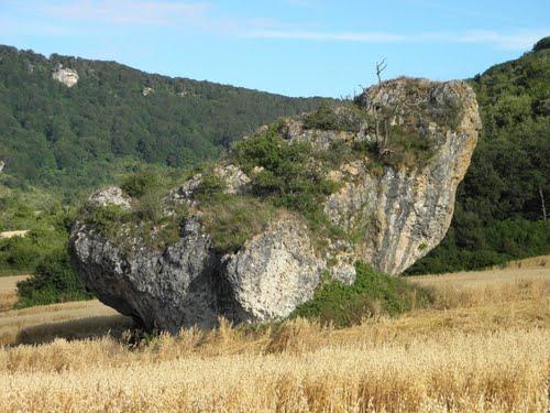 Esta enorme roca en el trigal  Contrasta ( Alava )