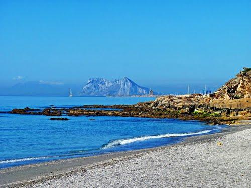 Manilva beach - view of Gibraltar