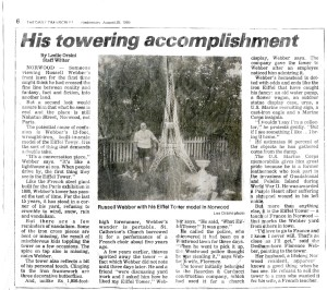 Russ was featured in an article in the Daily Transcript on August 28, 1985 where he talked about the Eiffel Tower.