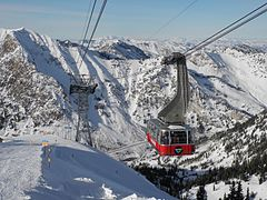 One of two cable cars composing the Aerial Tram at Snowbird Ski and Summer Resort approaches the top station on top of Hidden Peak at an elevation of 11,000 feet