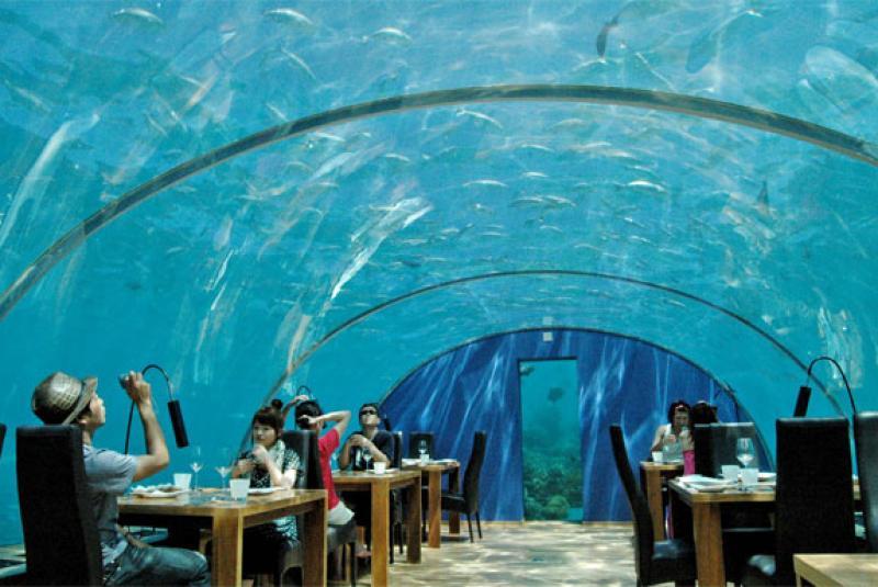Restaurant Ithaa Undersea , aux Maldives