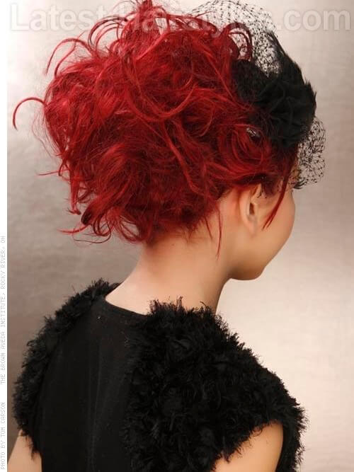 Tantalizing Tendrils - Deep Red Teased Style Back View