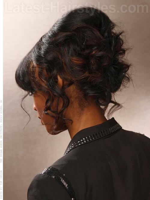 Fringe Chignon with Flirty Curls - Back View