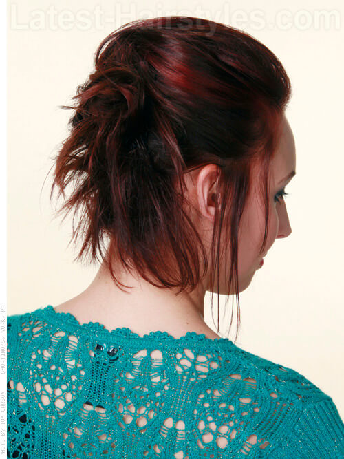 Femme Hawk - Soft Spiky Pony - Auburn Highlighted Style